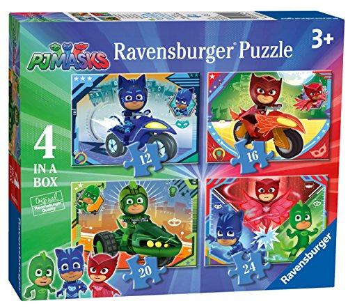 Ravensburger 6974 PJ Masks – 4 Puzzles in Box (12, 16, 20, 24 Teile) für Kinder ab 3 Jahren, 0