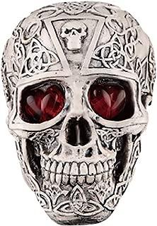 Fan-Ling Halloween Skull Model,Halloween Decorations Resin Wacky Funny Novelty Skull Toys,Fake Skull Party Prop,Halloween Decoration Toy Funny Spoof Light LED Eye Ghost Scary Terror Skull Prop (D)