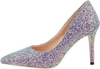 Sam Carle Women's Pumps,Sequin Comfortable High Heel Purple Pink Wedding Shoes Nightclub Pump