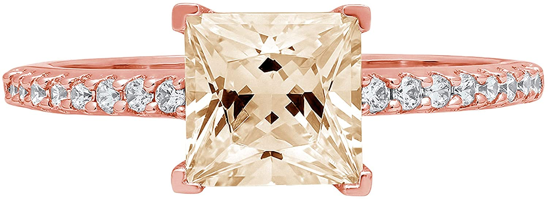 1.6ct Brilliant Princess Cut Solitaire with Accent Designer Genuine Natural Morganite Gemstone Ideal VVS1 Engagement Promise Statement Anniversary Bridal Wedding ring 14k Pink Rose Gold