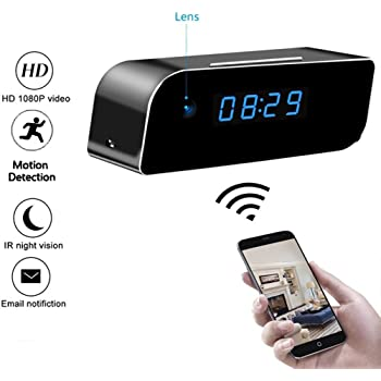 Wi-Fi Clock Camera 1080P Wireless IP Clock Camera Night Vision Motion Detection Alerts Alarm Clock Wireless IP Security Camera Nanny Cam Real-time Home Surveillance Cameras for Smart Phone PC