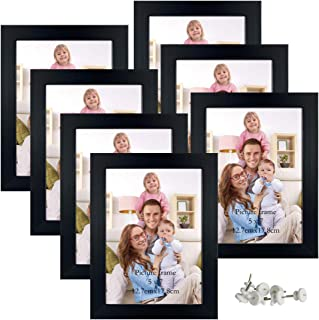 Giftgarden 5x7 Picture Frames 7 Pack Real Glass Black Frames Set for Tabletop or Wall Display