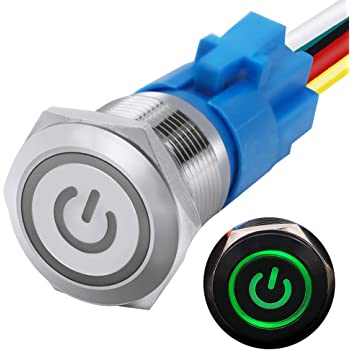 """mxuteuk 19mm Latching Push Button Switch 1 NO 1 NC SPDT ON/Off Silver Stainless Steel Shell with 12v Green Power Symbol Light with Wire Socket Plug Suitable for 3/4"""" Mounting Hole L-19-POWER-T-G"""