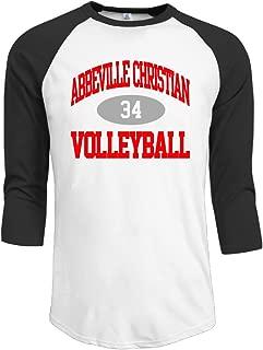 X-HAPPY Abbeville Christian Academy Volleyball 34 Men's 3/4 Sleeve T-Shirt Black