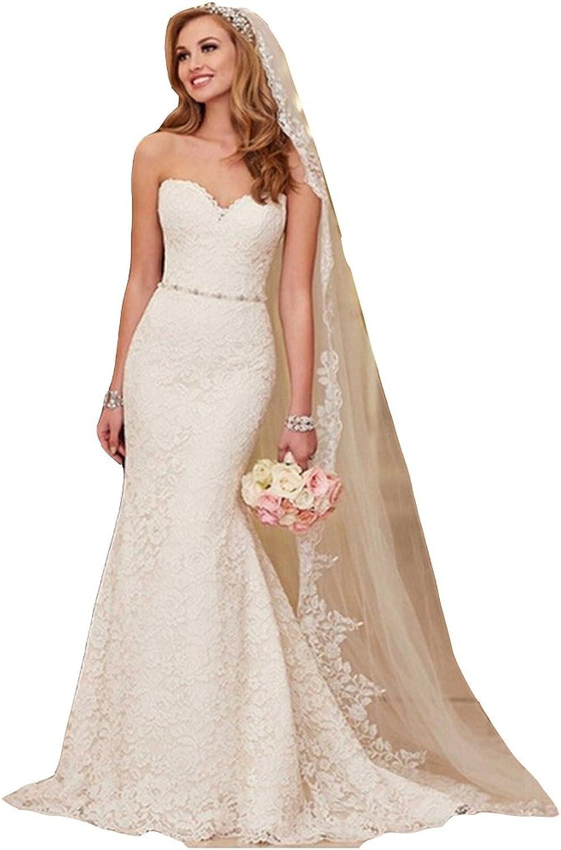 Irenwedding Women's Sweetheart Lace Applique Belt Mermaid Zipper Wedding Dress