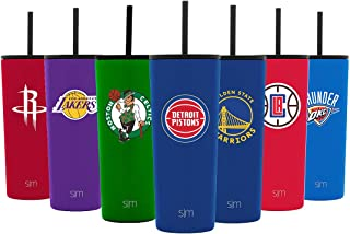 Simple Modern NBA & College Classic Insulated Tumbler with Closing Lid and Straws - 18/8 Stainless Steel Vacuum Sealed Travel Mug