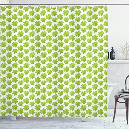 ABAKUHAUS Klee Duschvorhang, Luck Muster, Waserdichter Stoff mit 12 Haken Set Dekorativer Farbfest Bakterie Resistet, 175x200 cm, Apfelgrün Lindgrün