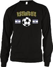Amdesco Israel Soccer/Football and Flag Men's Long Sleeve Thermal Shirt