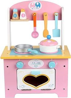 子供用キッチン玩具プレイセット、木製の小さなシェフロールプレイング玩具、シミュレーションキッチン調理器具、幸せな家族の時間、ピンク