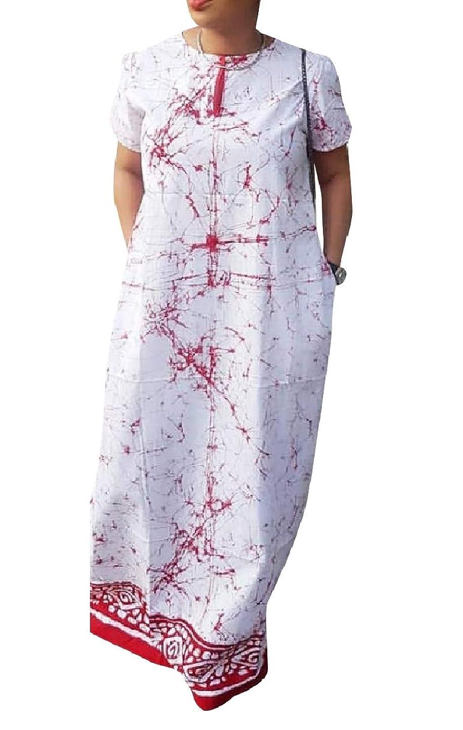 論文予想するすみませんGodeyesW 女性タイ染め半袖アフリカクルーネックフルレングスドレス