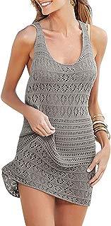 Women Short Dress Sleeveless Crochet Beach Cover up Casual Swimsuits