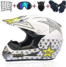 MRDEAR Motorradhelm Motocross Helm Damen mit Motorrad Netz Brille Handschuhe Maske Schwarz und Pink//Rockstar Adult Off-Road Enduro MTB Helm Fullface Crosshelm Schutzhelm Sicherheit Schutz