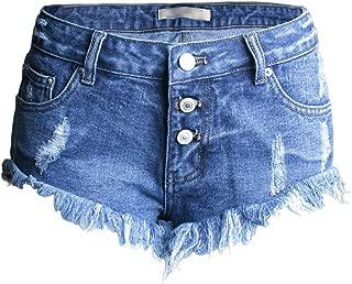 LUKEEXIN Women's Button Down Low Rise Shorts Frayed Raw Hem Ripped Denim Jean Shorts
