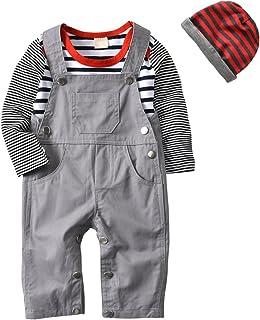 3Pcs Baby Boys Long Sleeve Stripe Romper Overalls...