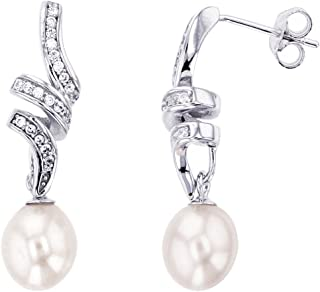 Sterling Silver Freshwater Pearl And Cubic Zirconia Twirled Drop Stud Earrings