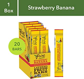 Pure Organic Strawberry Banana Layered Fruit Bar - Organic, Gluten-Free, Non-GMO Project Verified, Vegan Fruit Snack, 0.63oz (Pack of 20)
