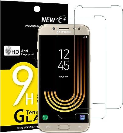NEW'C Verre Trempé pour Samsung Galaxy J5 2017,[Pack de 2] Film Protection écran - Anti Rayures - sans Bulles d'air -Ultra Résistant (0,33mm HD Ultra Transparent) Dureté 9H Glass