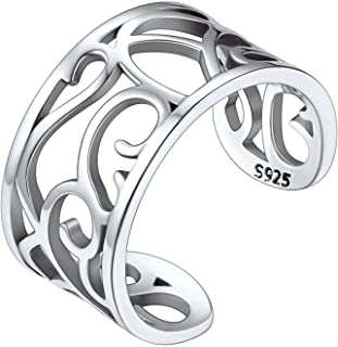 SILVERCUTE Toe Rings, 925 Sterling Silver Hypoallergenic Adjustable Band Ring Stackable Toe Finger Tail Ring Set for Women...