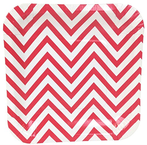 Just Artifacts Square Paper Party Plates 7.25-Inch (12pcs) - Red Chevron - Decorative Tableware for Birthday Parties, Baby Showers, Grad Parties, Weddings, and Life Celebrations!
