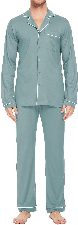 MEOMUA Men's Bamboo Pajamas Set Soft Long Sleeve Bamboo Classic Sleepwear Loungewear