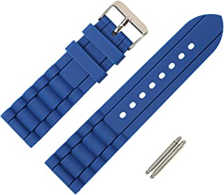24mm Black Blue Straps Silky Soft Rubber Watch Bands for Fossil Watch and Most Diver Watch