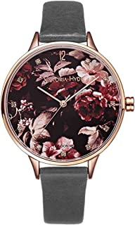 VICTORIA HYDE Women Floral Bird Dial Quartz Watch Waterproof Genuine Leather Strap Wristwatches for Ladies