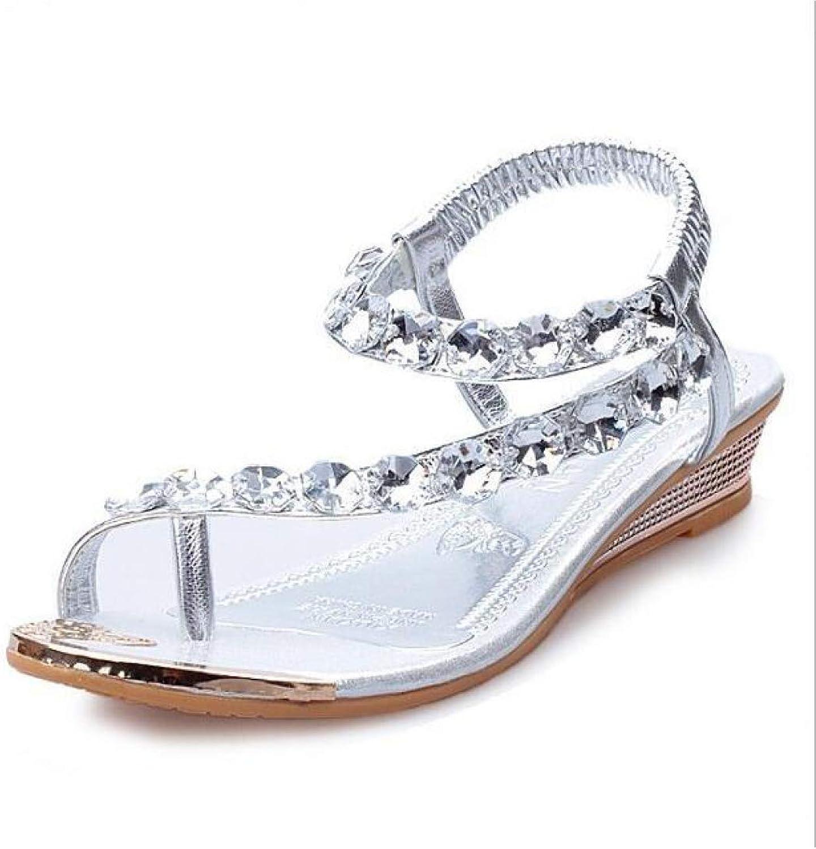 Hoxekle Woman Bling Rhinestone Wedge Low Heel Thong Flip Flops Summer Roman Waterproof Party Wedding shoes