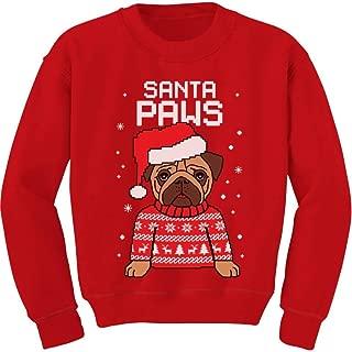 Santa Paws Pug Ugly Christmas Sweater Dog Youth Kids Sweatshirt