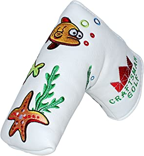 Craftsman Golf Oceam World Fish Crab Seaweed White Blade Putter Cover Headcover Magnetic Closure for Scotty Cameron Taylor...