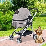 PawHut D00-040GY Hundewagen / Buggy für Hunde / Katzen mit Sonnendach, grau - 2