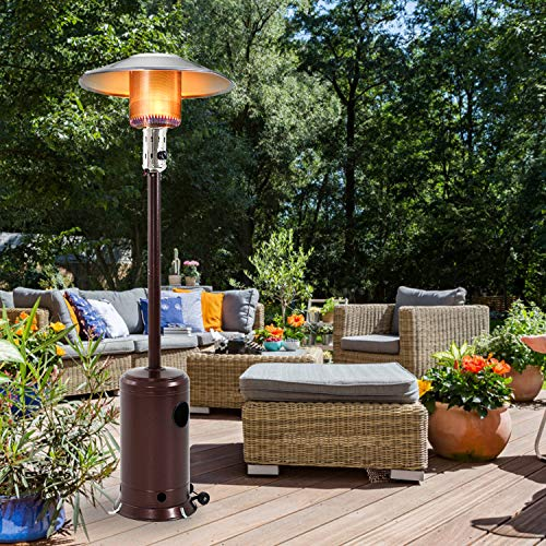 FDW Outdoor Patio Heater Tall Standing Hammered Finish Garden Outdoor Heater Propane Standing LP 47,000BTU CSA Certified Gas Steel w/Accessories, Bronze
