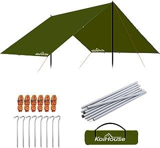 防水タープ 軽量 天幕シェード 日除け 多機能タープuv 紫外線カット キャンプ 登山 携帯便利 大容量 キャリーバッグ付き タープポール付き サイズ220X240X200cm
