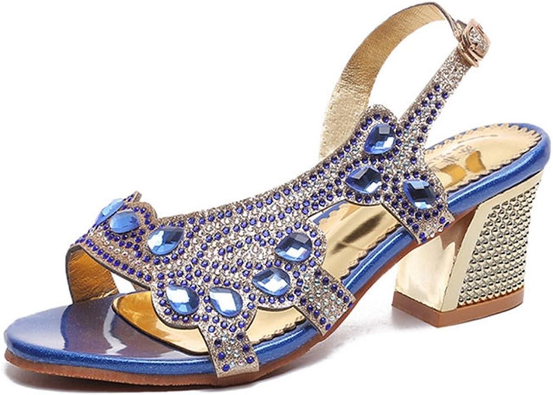 GIY Women's Mid Block Heel Sandals Rhinestone Open Toe Chunky Heel Dress Sandals Ladies shoes