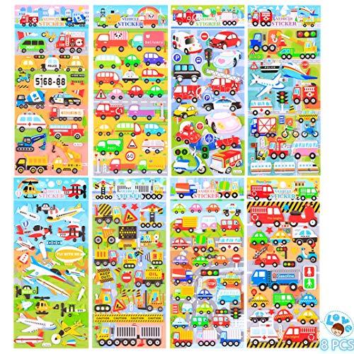 NLR FUN Pegatinas hinchadas de EVA para vehículos y aeronaves de transporte para niños, incluyendo coches, aviones, motocicletas, autobuses, camiones, grúas