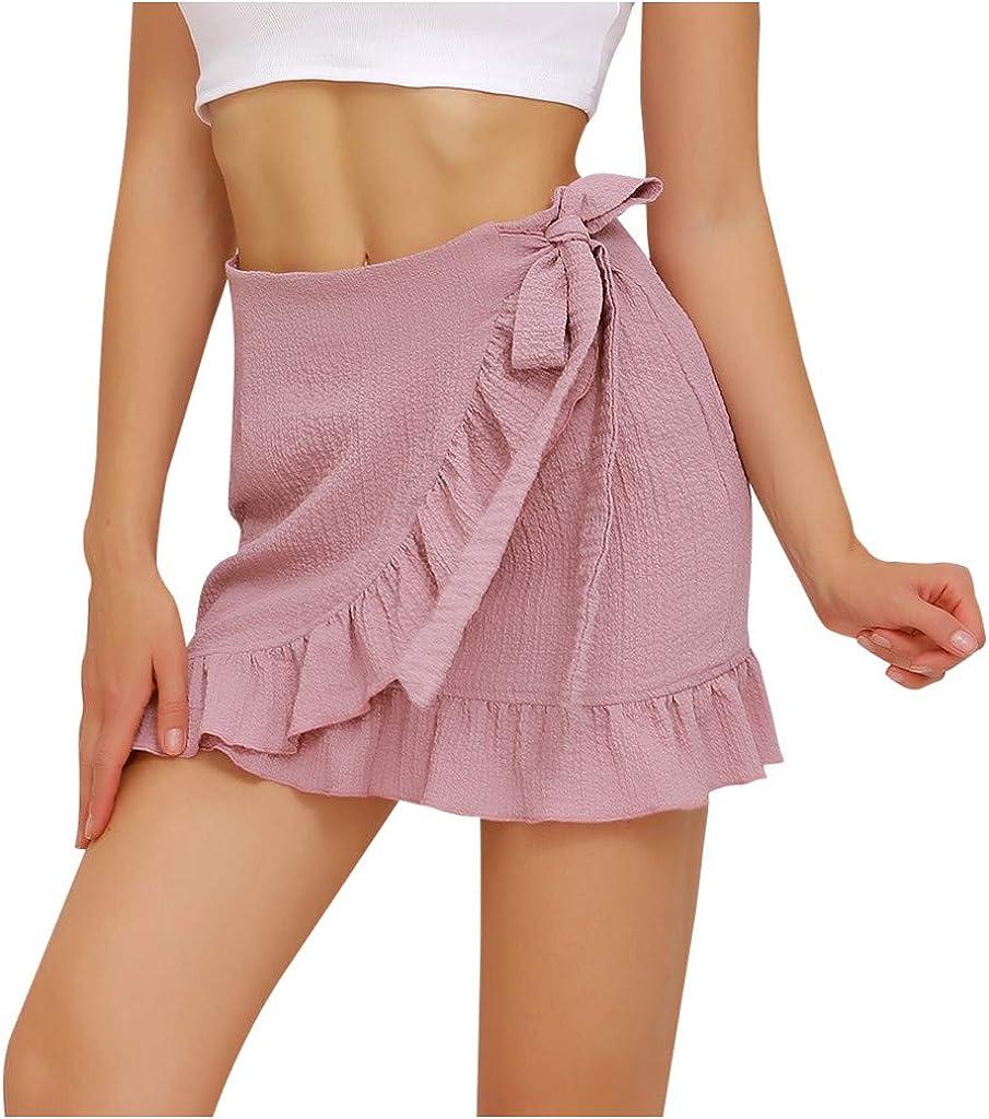 HYWJSZ Skirt for Women, Casual Cute Girl Sweet Style Solid Color High Waist Ruffled Frenulum Bowknot Short Skirt
