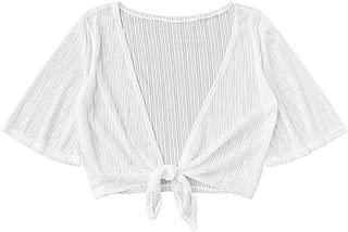 Women's Sheer Mesh Tie Front Crop Top Kimono Blouse Cropped Cardigan