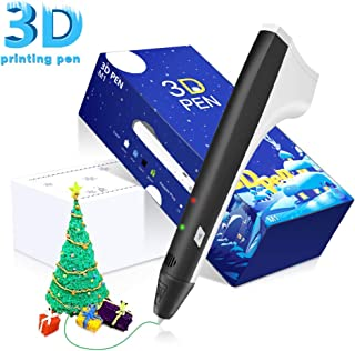 DAZZLE LIGHT Printing Pen for Kids and Adults - Heated Drawing Printer Pen with LED Display - Includes 6 1.75mm PLA Filaments - Safe and Non-Toxic - Perfect for DIY Arts and Crafts(Black)