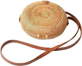 Leiyini Purely HandmadeRattanStrawWoven Small Shoulder Bag for Women RoundCross-body BagRetroVintageFashionableBeachBagHomeStorageBag