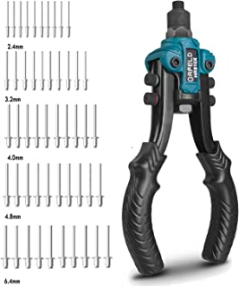 ORFELD Hand Rivet Gun, 11inch Heavy Duty Rivet Tool with 5 Replaceable Nosepieces, 50pcs Rivets, 5 in 1 Hand Riveter for Plastic, Metal, Leather, Large & Small Jobs