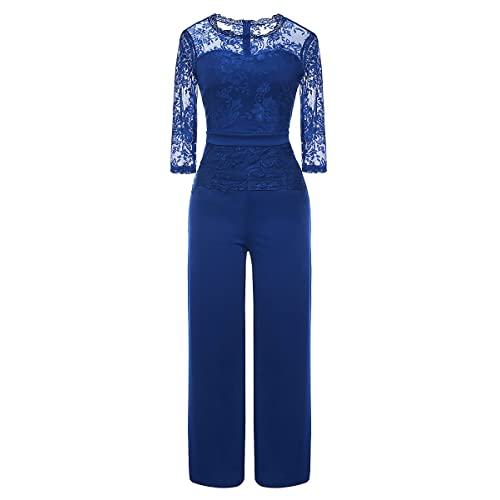 85e175f329e6 Misschicy Women s 3 4 Sleeve Round Neck Lace Top Mesh Elegant Wide Leg Long  Pants