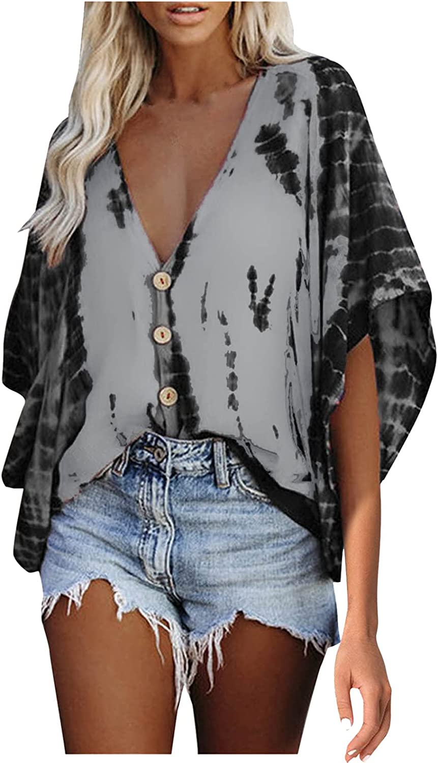 ManxiVoo Women's Top Tie-Dye Floral Printed V Neck Blouse Bell Sleeve Button Down Top Shirt Blouse