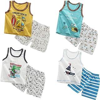 XM-Amigo 8 Paquetes de Chalecos sin Mangas para niños, Camisetas sin Mangas, Camisetas sin Mangas, Pantalones Cortos, Conj...