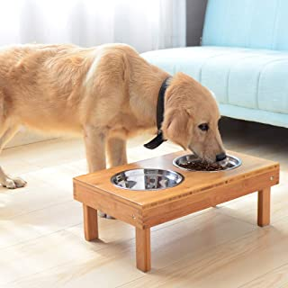 Lepet Adjustable Raised Dog Bowls Elevated Pet Feeder with 4 Stainless Steel Bowls, Elevated Dog Dish Stand with Collapsible Legs Natural Bamboo Dog Feeder