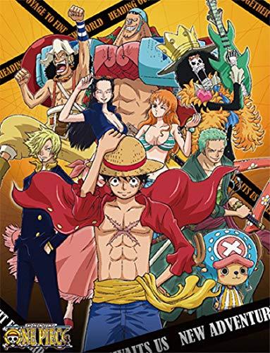 One Piece Anime Throw Blanket - Luffy, Zoro, Sanji, Nami and Crews New World
