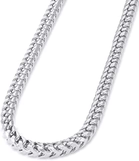 Solid 14k White Gold 4mm D/C Franco Chain Necklace with Lobster Claw Clasp