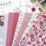 100% Algodón Red Flower Patchwork Tela de algodón Patchwork Facilidad de manipulación, Corte y encolado(50 * 50cm)