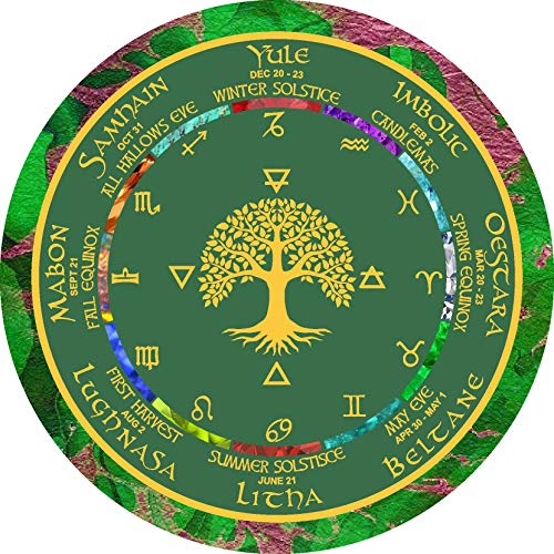 "Wiccan Calendar Pagan Wheel of the Year Altar or Wall Art 8 ½ Inch ""Greeen Tree of Life"""