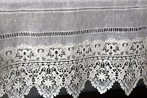 Gardine Landhaus Leinen Shabby Chic Vintage Baumwolle Spitze 40Hx90B