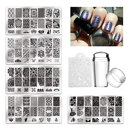 Biutee 5pcs Nagelstempel, Maniküre Stempelschablonen Stamping Schablone für Nägel, Fingernaegel Stempelset