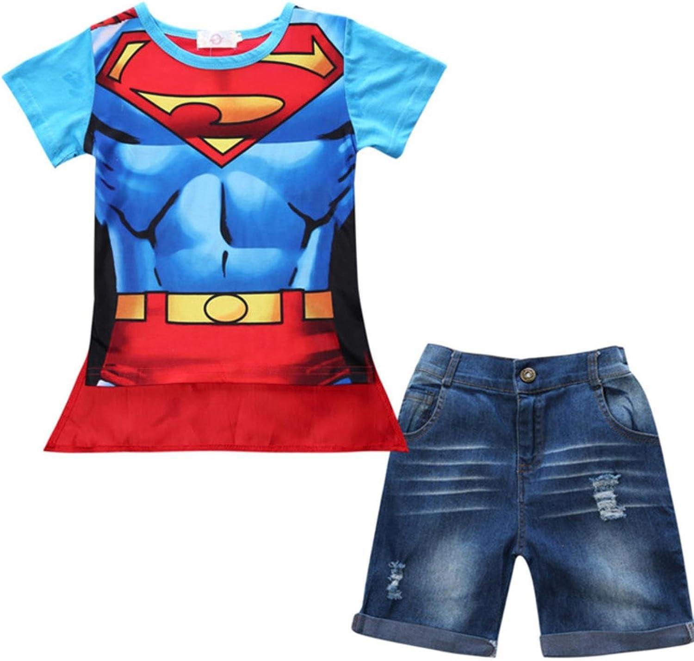 AEiqCUNo Boys Clothes Set Loose Cotton Plaid Shirt+ Pants+ Belt 3 Pcs